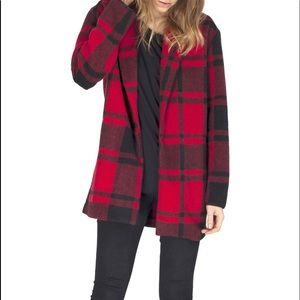 Gentle Fawn Red Plaid Levi Coat Large Wool Blend